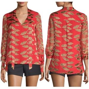Alice + Olivia | Leopard Lips Sheila Red Blouse